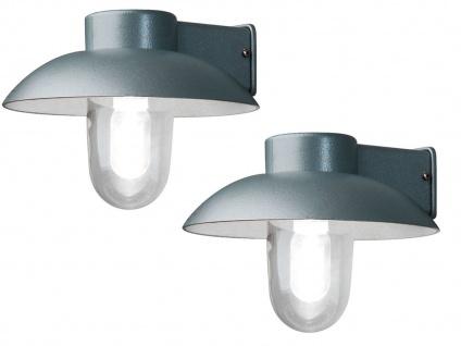 2er Set Aluminium Außenwandleuchte silber, E27, klares Glas, IP44, Konstsmide