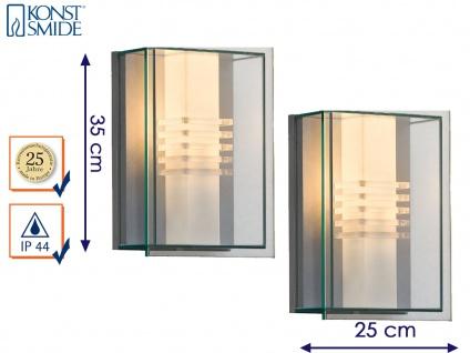 2er Set Außenwandleuchte Alu silber / Polycarbonat Glas bruchsicher, Konstsmide