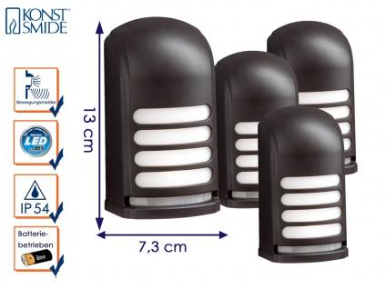 4er-LED Wandaufbauleuchte Nachtlicht PRATO Bewegungsmelder batteriebetr. schwarz