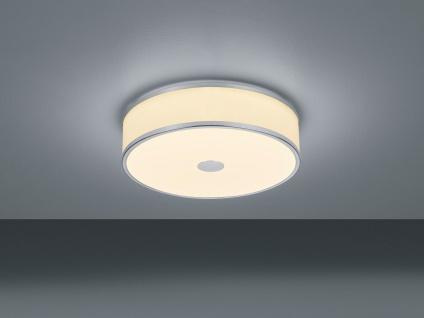 LED Deckenleuchte Ø40cm mit weißem Stoffschirm, Nickel matt mit SWITCH DIMMER