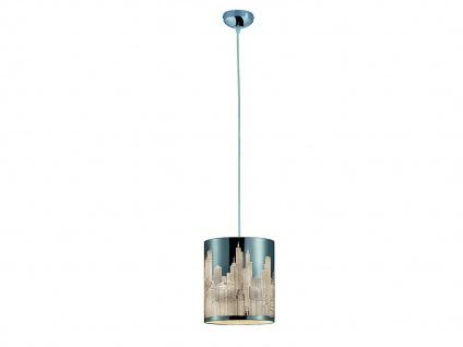Moderne LED Pendelleuchte Metall Lasercut Motiv City Weiß 1flammig für Esszimmer