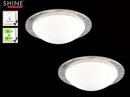 2er Set Deckenleuchten SHINE-ALU Antik 38cm, Glas opal matt, Deckenlampe Design