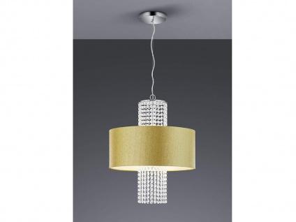 LED Pendelleuchte mit rundem Textilschirm Ø45cm Gold glitzernd, Acryl Kristallen