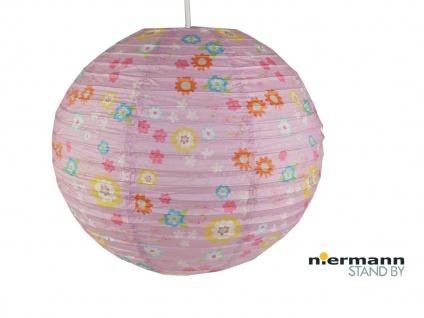 Papier Lampenschirm Kinderzimmer Rosa mit BLÜMCHEN Lampion Kugel Ballon Lampe