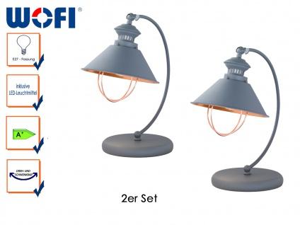 2er Set Retro Tischlampe FLORENCE mit LED, Schreibtischlampen Tischleuchte