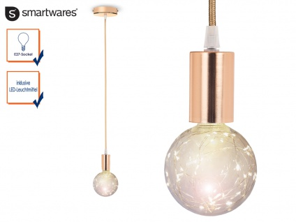 Vintage Hängeleuchte Rosegold Glühbirnenfassung + Textilkabel E27 Disco LED