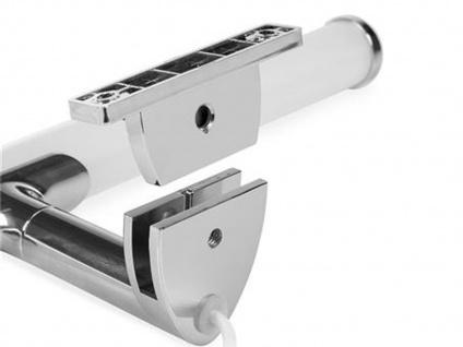 LED Spiegelleuchte fürs Badezimmer aus chromfarbigem & weißem Kunststoff, Rohr - Vorschau 5
