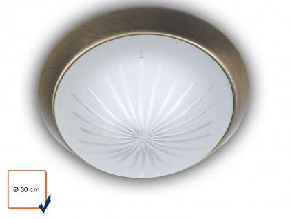 LED Deckenleuchte Schliffglas satiniert Altmessing Ø30cm LED Treppenhausleuchte - Vorschau 2