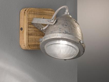 1flammiger LED Wandstrahler aus Holz & Metall zink antik, Wandleuchte Industrial