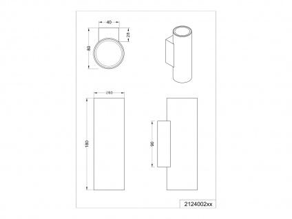 Wandleuchte Up and Down aus Metall Silber mit dimmbaren LEDs, Strahler für Innen - Vorschau 5