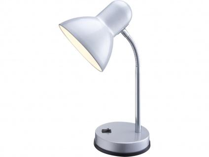Tischlampe BASIC silber flexibel, Schreitischlampe Leselampe Arbeitsleuchte Büro
