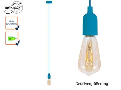 Vellight Schnurpendel Textil blau Hängelampe mit Filament LED, Pendelleuchte
