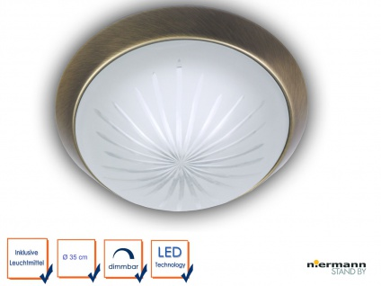 LED Kellerlampe Ø35cm Treppenhausbeleuchtung Schliffglas Dekorring Altmessing