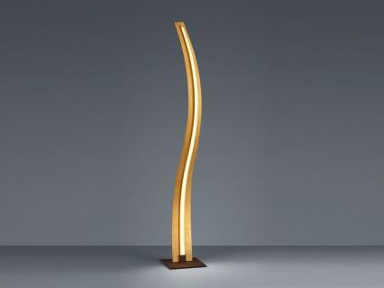 Schmale LED Stehlampe dimmbar Design Wellenform geschwungen Gold fürs Wohnzimmer