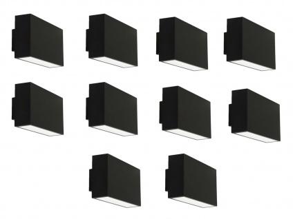 10er Set LED Außenwandleuchte EBONY, IP44, up&down light RANEX