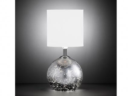 LED Tischleuchte Glasfuß Silber G9-Fassung, Schirm Stoff weiß, Wohnraumleuchte