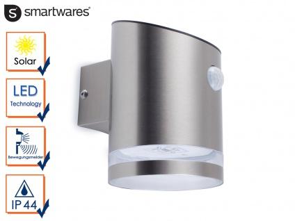 Led Solar Aussenleuchte Mit Bewegungsmelder Edelstahl Wandlampe Ip44