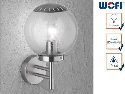LED Wandleuchte / Außenleuchte Kugel Edelstahl & Glas Fassadenbeleuchtung Haus