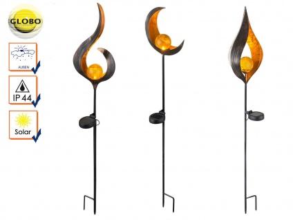 Set: 3 LED Solarleuchten bronzefarben mit Glaskugel, Erdspießleuchten Gartendeko