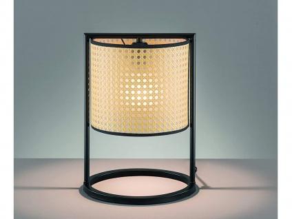 Coole Vintage LED Tischlampe Metall Schwarz mit Lampenschirm Beige Rattan Optik