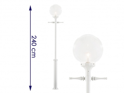 2er-Set weiße Straßenlaternen Kandelaber klares Acrylglas 240cm - Vorschau 2
