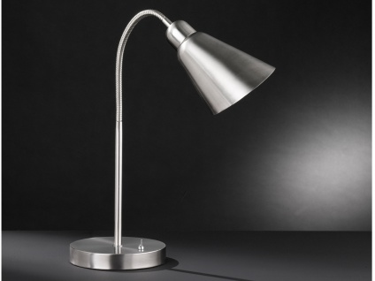 Flexible LED Schreibtischleuchte Nickel matt / Chrom, Nachttischlampe Bürolampe
