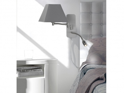 Wandleuchte Stoffschirm eckig grau mit Leselampe & Stecker Wandlampen fürs Bett