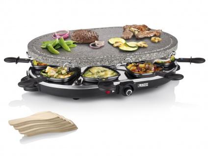 Raclette Gerät oval mit heißem Stein Natursteingrill für 8 Personen Raklett