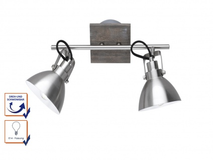 Deckenlampe mit 2 schwenkbaren Spots, Vintage Look Metall Nickel matt holzfarbig - Vorschau 3