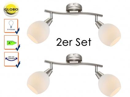 2x LED Deckenleuchte Deckenstrahler ELLIOTT, Glasschirme, Deckenlampe schwenkbar