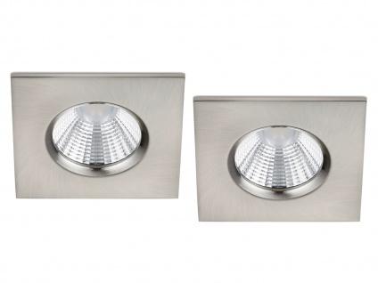 LED Einbaustrahler Decke 2er Set eckig dimmbar Nickel matt 5, 5W - Deckenleuchten