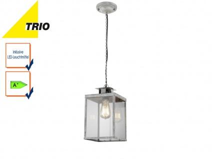 Retro Pendelleuchte eckig Design grau antik, Glas klar, Hängelampe Filament LED