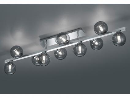 Lange Deckenlampe mehrflammig Silber Lampenschirme Rauchglas - fürs Wohnzimmer