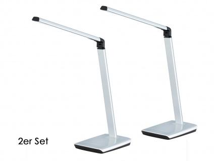2er Set LED Schreibtischleuchte neigbar Touchdimmer USB Anschluß Silber Büro - Vorschau 2
