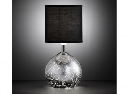 LED Tischleuchte Glasfuß Silber G9-Fassung Schirm Stoff schwarz, Wohnraumleuchte
