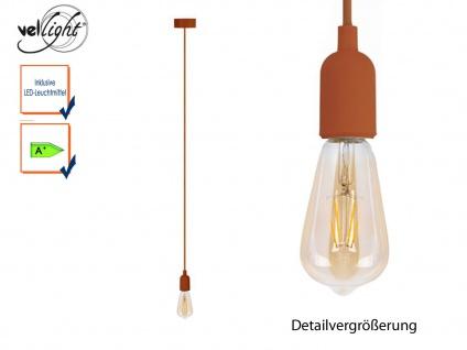 Schnurpendel Textil braun Hängelampe mit Filament LED, Pendelleuchte Vintage