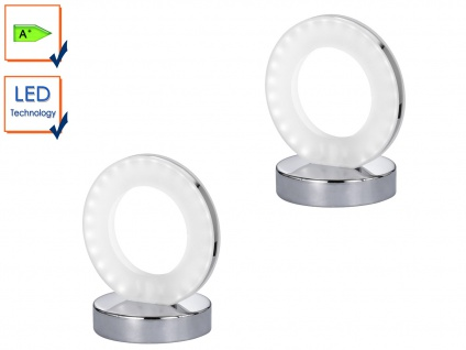 LED Tischleuchte Ring, Tischlampe 2er Set Chrom / Acrylglas, Action by Wofi