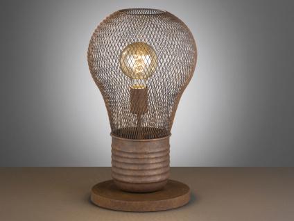 Vintage LED Tischleuchte aus rostfarbenem Metall, Tischlampe im Industrielook - Vorschau 5