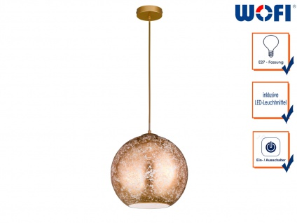 Design LED Pendelleuchte mit Kugel Lampenschirm Gold Ø 30cm elegante Dekoleuchte