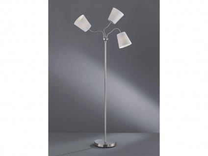 3 flammige Stehleuchte flexibel Silber mit Stoffschirm Ø15cm in Weiß Höhe 140cm