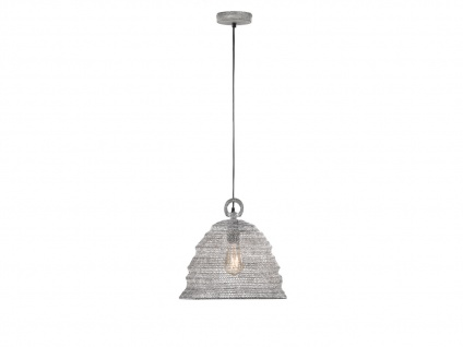 Design LED Pendelleuchte mit Lampenschirm betonfarbig 33cm moderne Esstischlampe