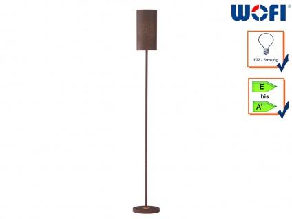 Design Stehleuchte Metall Schirm Antik braun, Höhe 150 cm, Standlampe Diele