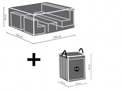 Schutzhüllen Set: Abdeckung 200x150cm für Garten Lounge + Hülle für 6-8 Auflagen