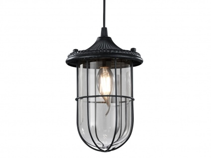 LED Hängelampe schwarz Lampenschirm Glas 14, 5cm, Retro Pendelleuchte Vintage - Vorschau 3