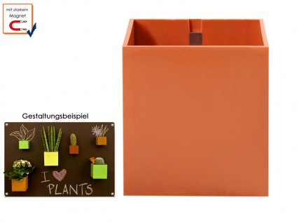 Wandaufbewahrung Wanddeko Kunststofftopf mit Magnet Ø 9 cm Orange, KalaMitica