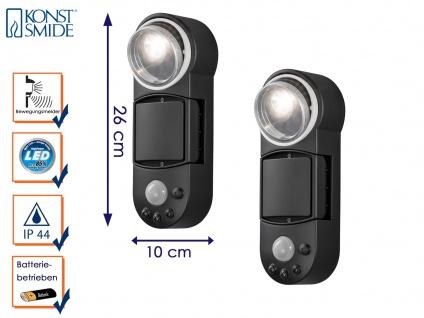 2er Set LED Wandaufbauleuchte Bewegungsmelder Batteriebetrieb Außenwandleuchte