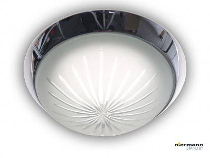 Deckenleuchte rund, Schliffglas satiniert, Chrom Ø25cm, Dielenleuchte Bürolampe