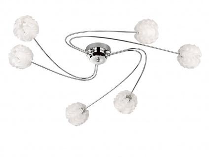 Design Deckenleuchte mit LED 6 Kugelschirme Kunststoff Weiß Wohnzimmerleuchten