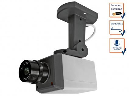 Überwachungskamera Dummy Attrappe mit LED blinkend, Bewegungsmelder & Drehmotor