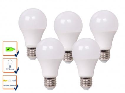 5er Set LED Leuchtmittel 9 Watt, 806 Lumen, E27-Sockel, 3 Weiß-Stufen wählbar